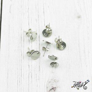 Orvosi fém szerelhető bedugós fülbevaló alap (1 pár)