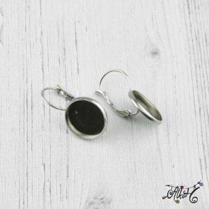 Francia kapcsos fülbevaló alap, orvosi fém, belső: 14 mm (1 pár)