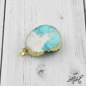 Achát ásvány medál – fehér-türkizkék
