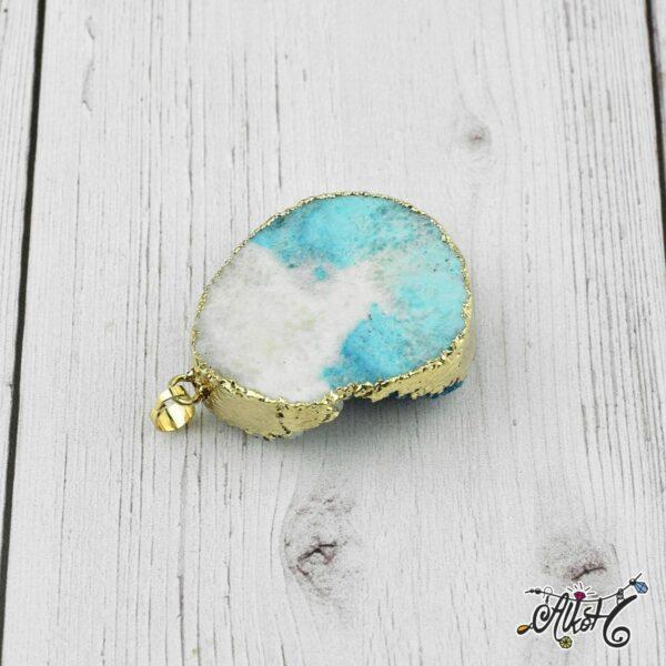 Achát ásvány medál - fehér-türkizkék 1