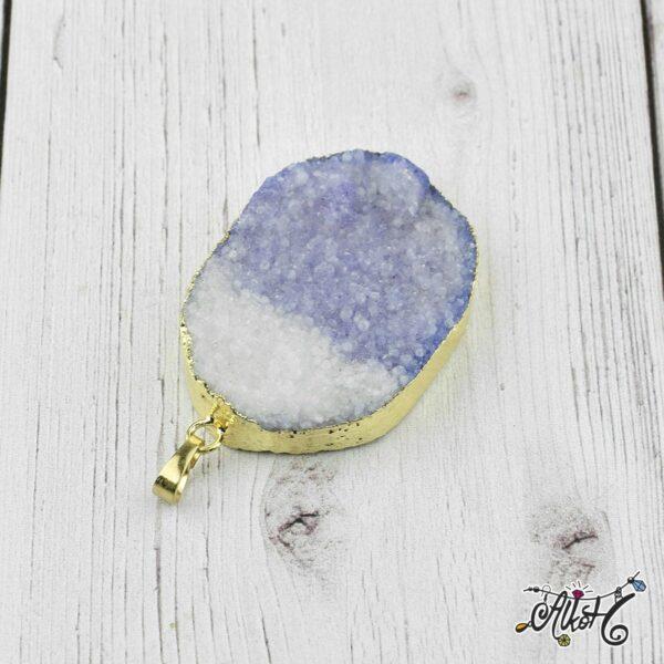 Achát ásvány medál - lila-fehér 1