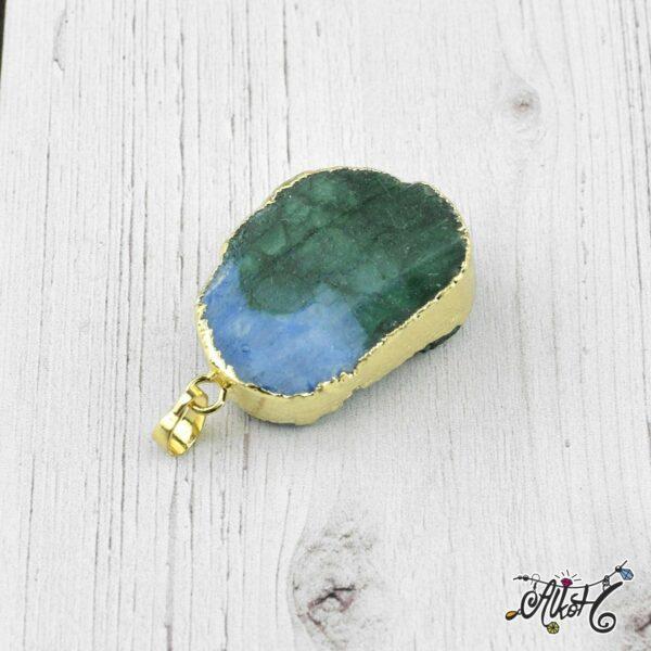 Achát ásvány medál - kék-smaragdzöld 1