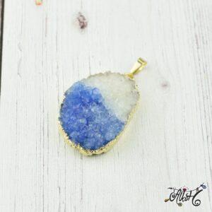 Achát ásvány medál – fehér-kék
