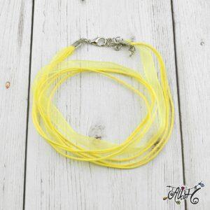 Organza nyaklánc alap – citromsárga