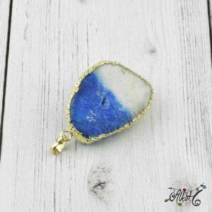 Achát ásvány medál – kék-fehér