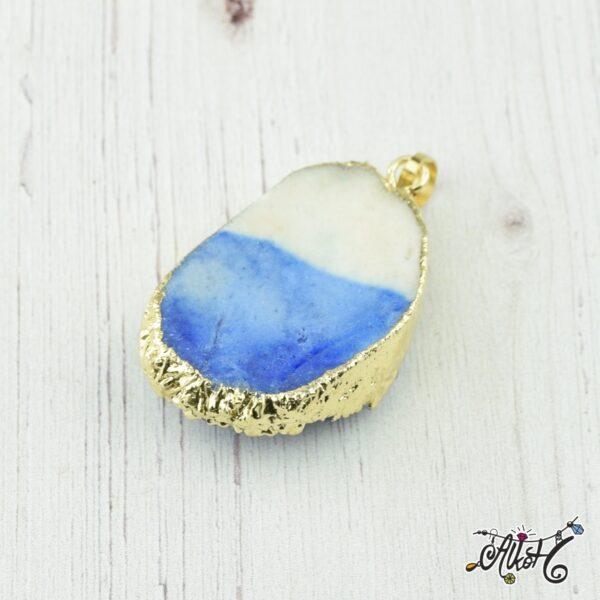 Achát ásvány medál - fehér-kék 1