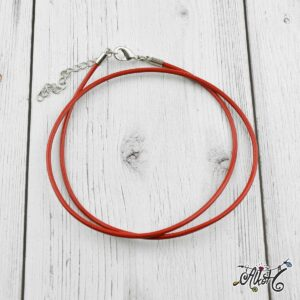 Bőr nyaklánc alap – piros