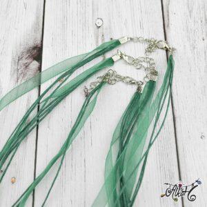 Organza nyaklánc alap – smaragd zöld
