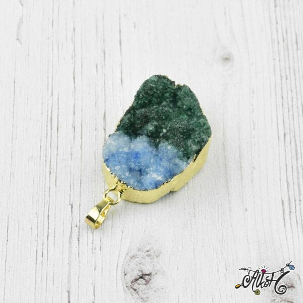 Achát ásvány medál - kék-smaragdzöld 2