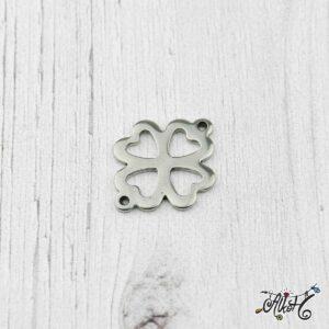 Orvosi fém összekötő medál – lóhere/virág