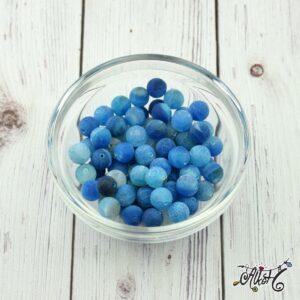 Kék matt festett achát ásványgyöngy 8 mm (10 db)