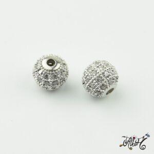 Cirkónia gyöngy 8 mm, platina, ezüst strasszal díszített