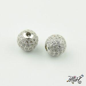 Cirkónia gyöngy 10 mm, platina, ezüst strasszal díszített