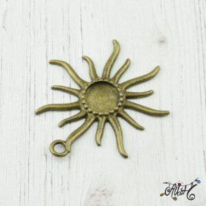 Antik bronz nap medál alap (12mm)