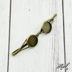 Antik bronz dupla tányéros hullámcsat alap (12mm)