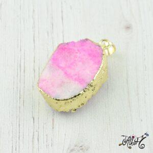 Achát ásvány medál – rózsaszín-fehér