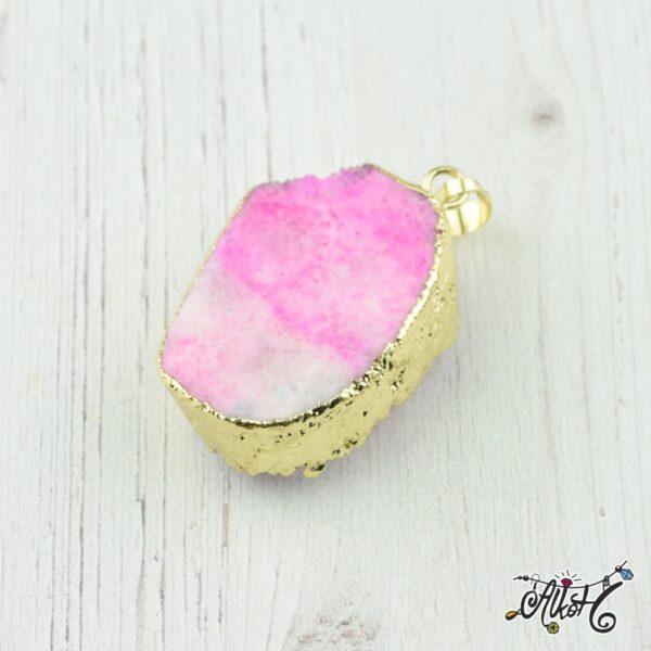 Achát ásvány medál - rózsaszín-fehér 1