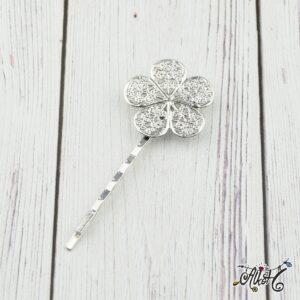 Virág díszes hullámcsat alap, antik ezüst