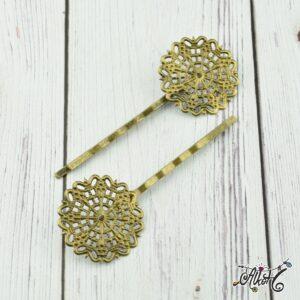 Antik bronz virágos hullámcsat alap