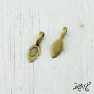 Ragasztható medáltartó levél, antik bronz