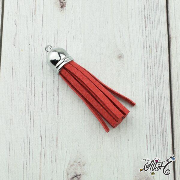 Velúr hatású bojt, tömör (6cm) - piros 1