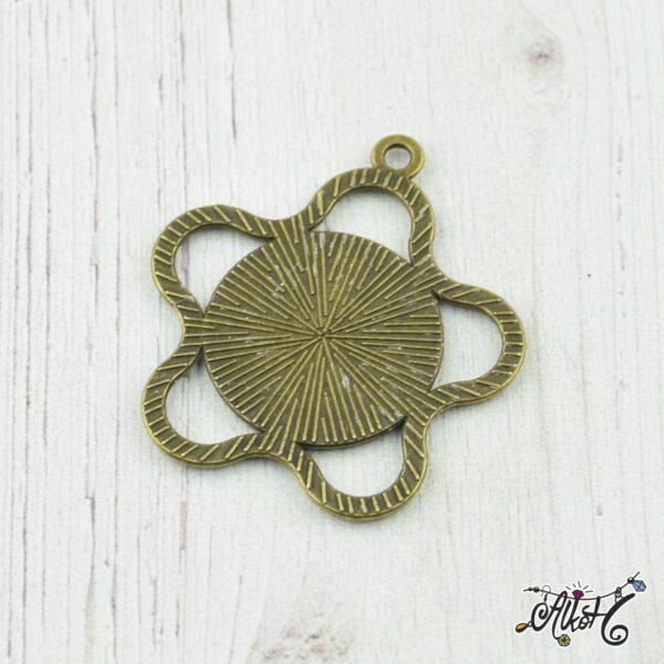 Antik bronz virág medál alap (18mm) 2