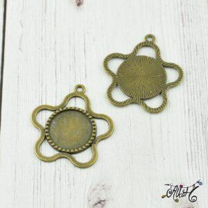 Antik bronz virág medál alap (18mm)