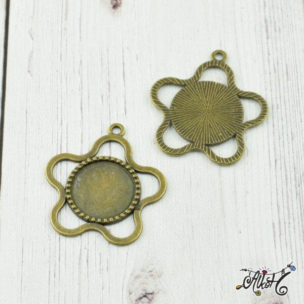 Antik bronz virág medál alap (18mm) 1