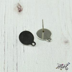 Orvosi fém hurkos, szerelhető bedugós fülbevaló alap (1 pár)