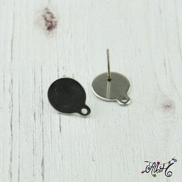 Orvosi fém hurkos, szerelhető bedugós fülbevaló alap (1 pár) 1