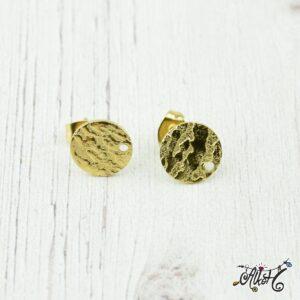 Orvosi fém szerelhető arany, díszes bedugós fülbevaló alap (1 pár)