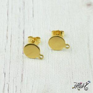 Orvosi fém arany, szerelhető bedugós fülbevaló alap (1 pár)