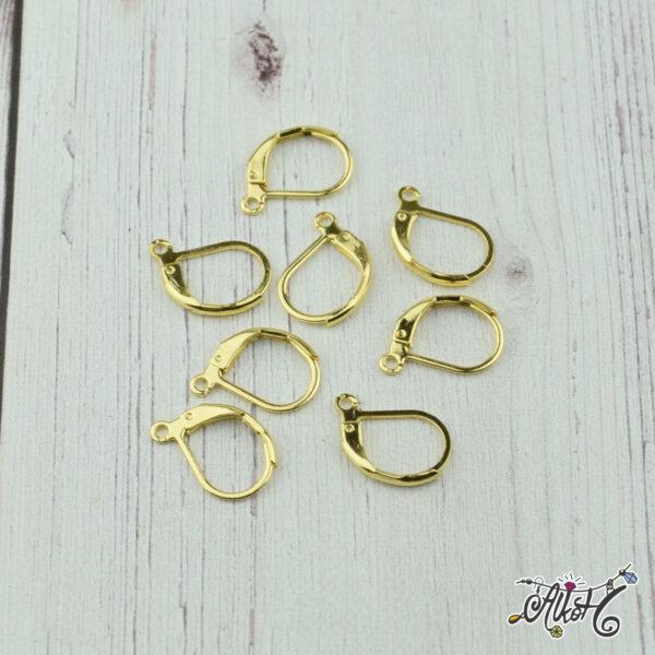 Orvosi fém arany, francia kapcsos fülbevaló alap (1 pár) 1