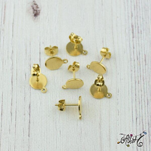 Orvosi fém arany, szerelhető bedugós fülbevaló alap (1 pár) 1