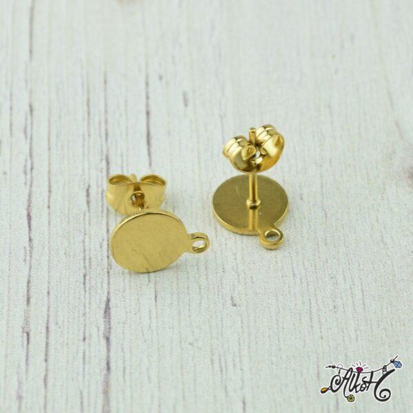 Orvosi fém arany, szerelhető bedugós fülbevaló alap (1 pár) 2