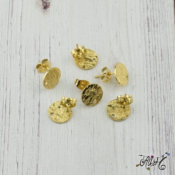 Orvosi fém szerelhető arany, díszes bedugós fülbevaló alap (1 pár) 1