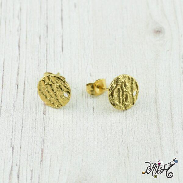 Orvosi fém szerelhető arany, díszes bedugós fülbevaló alap (1 pár) 2