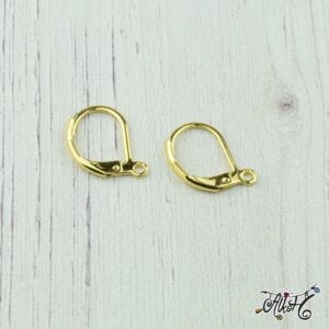 Orvosi fém arany, francia kapcsos fülbevaló alap (1 pár)