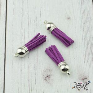 Velúr hatású bojt kicsi (3,5 cm) – padlizsán lila