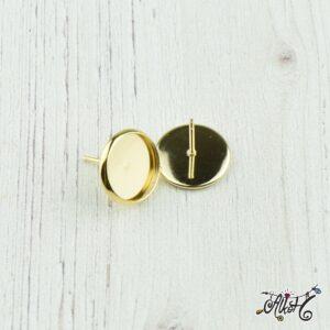 Orvosi fém arany bedugós fülbevaló alap (12mm)