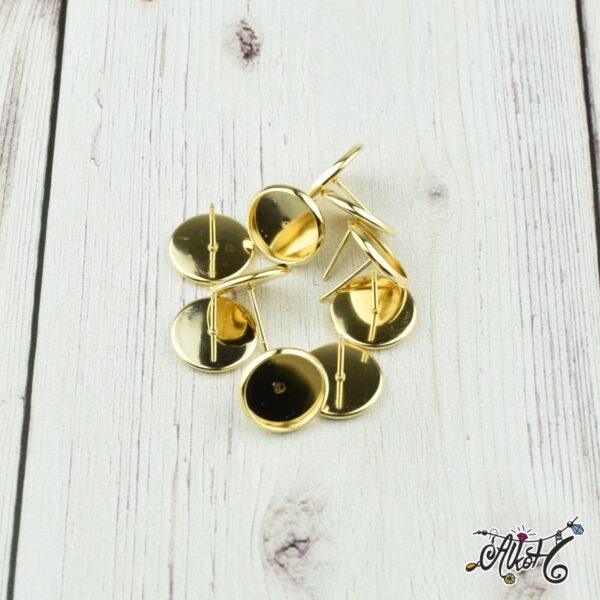 Orvosi fém arany bedugós fülbevaló alap (12mm) 1