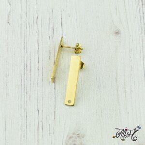 Orvosi fém arany hosszúkás, bedugós fülbevaló alap